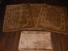 ROMANY TRAVELLERS MATS SETS 4PC NON SLIP LOVELEY SUPER THICK DARK BEIGE DESIGNS